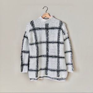 {Forever 21} Long Knit Plaid Fuzzy Sweater